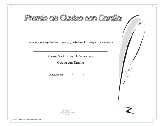 """Certificado De Logro - Cusivo Con Canilla"" (Spanish) Download Pdf"