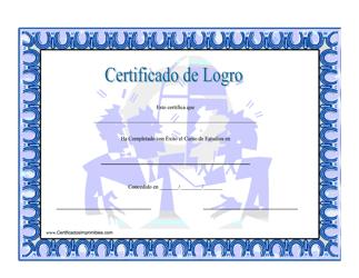 """""""Certificado De Logro Estudios En Matematicas"""" (Spanish)"""