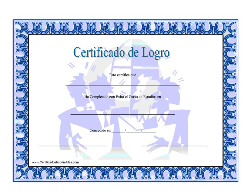 """""""Certificado De Logro Estudios En Matematicas"""" (Spanish) Download Pdf"""