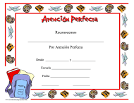 """Certificado De Atencion Perfecta"" (Spanish)"
