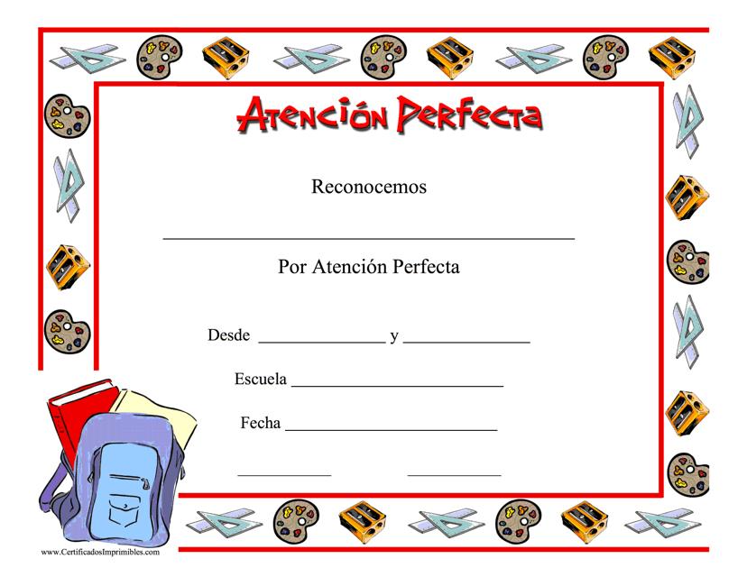 """""""Certificado De Atencion Perfecta"""" (Spanish) Download Pdf"""