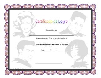 Certificado De Logro De Administracion De Salon De La Belleza