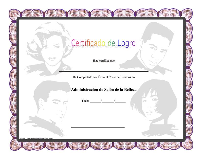 """""""Certificado De Logro De Administracion De Salon De La Belleza"""" (Spanish) Download Pdf"""
