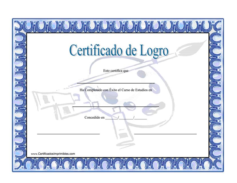 """""""Certificado De Logro"""" (Spanish) Download Pdf"""