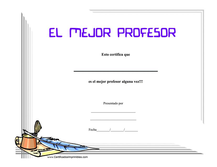 """""""El Mejor Profesor Certificado De Logro"""" (Spanish) Download Pdf"""