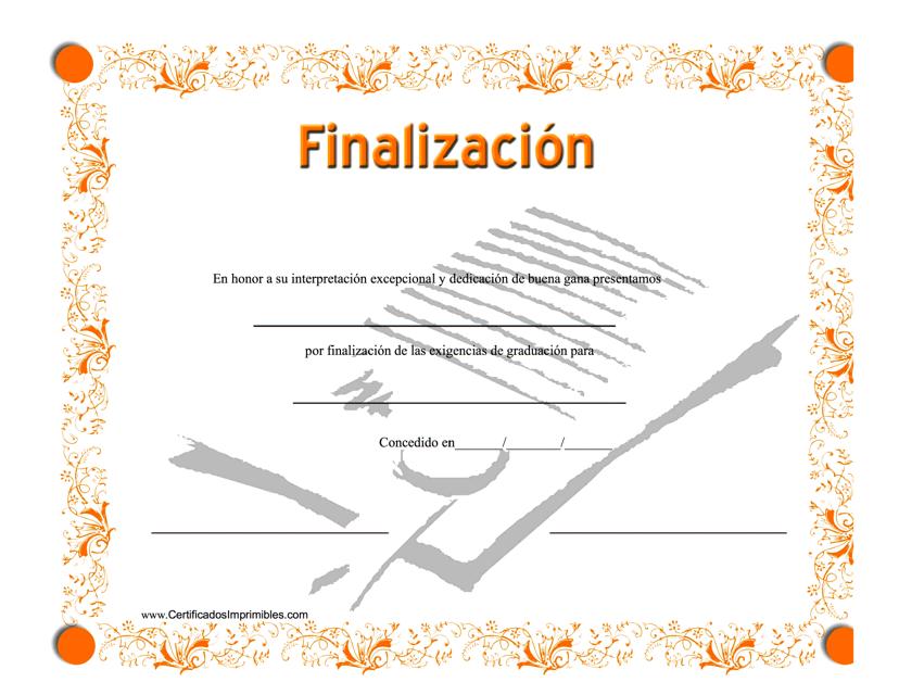 """""""Certificado De Finalizacion"""" (Spanish) Download Pdf"""