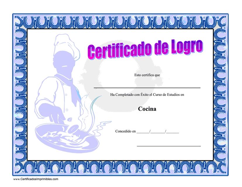 """""""Certificado De Logro - Cocina"""" (Spanish) Download Pdf"""