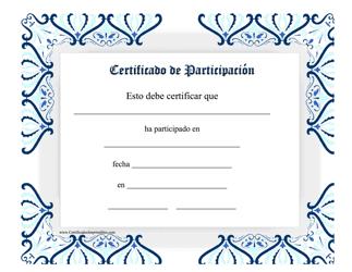 """""""Certificado De Participacion"""" (Spanish)"""