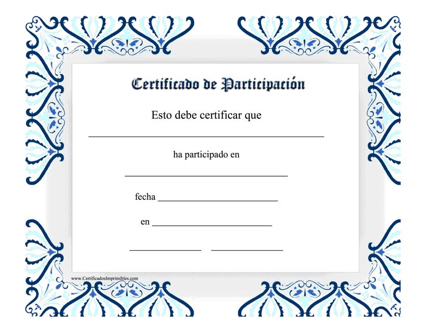 """""""Certificado De Participacion"""" (Spanish) Download Pdf"""