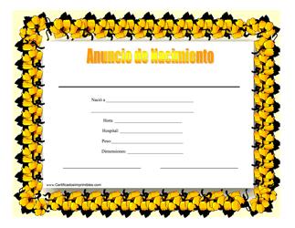 """""""Anuncio De Nacimiento Certificado"""" - Spain (Spanish)"""