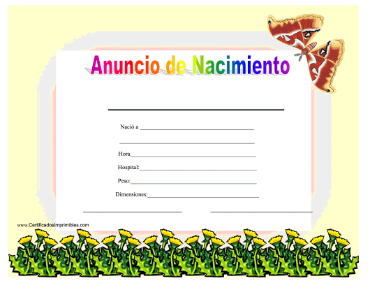"""Anuncio De Nacimiento Certificado"" - Spain (Spanish) Download Pdf"