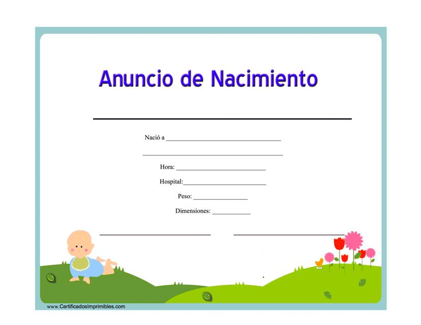 """""""Anuncio De Nacimiento Certificado"""" - Spain (Spanish) Download Pdf"""