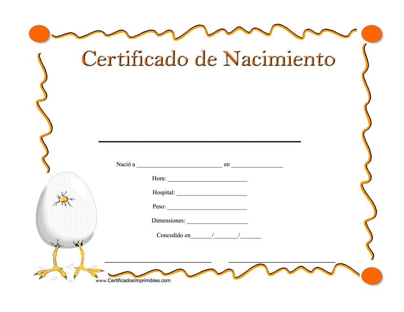 """""""Certificado De Nacimiento"""" - Spain (Spanish) Download Pdf"""