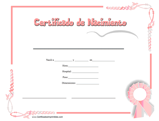 """Certificado De Nacimiento"" - Spain (Spanish) Download Pdf"