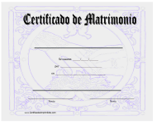 """Certificado De Matrimonio"" - Spain (Spanish)"