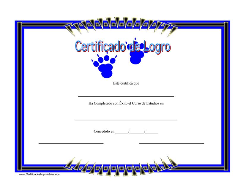 """Certificado De Logro"" - Spain (Spanish) Download Pdf"
