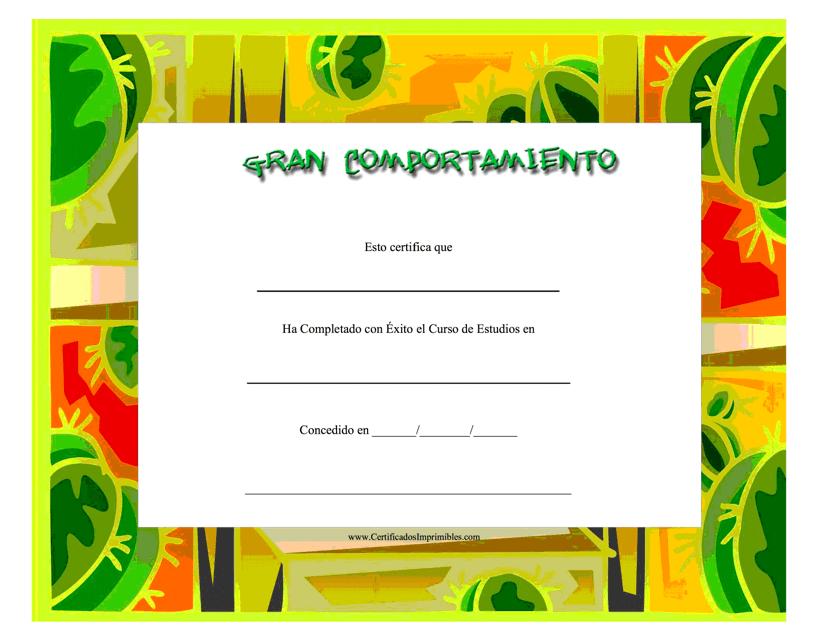 """""""Gran Comportamiento Certificado"""" - Spain (Spanish) Download Pdf"""