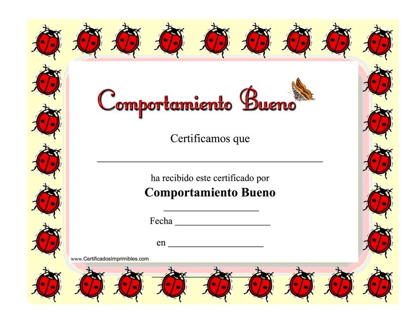 """""""Comportamiento Bueno Certificado"""" - Spain (Spanish) Download Pdf"""