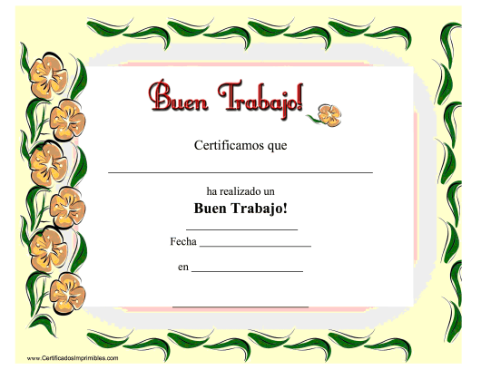 """Buen Trabajo Certificado"" - Spain (Spanish) Download Pdf"