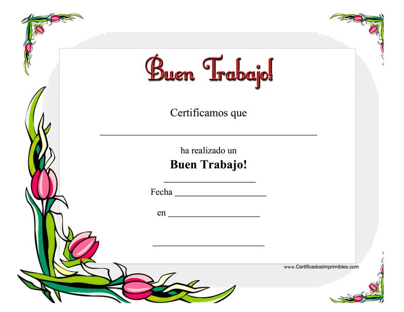 """""""Buen Trabajo Certificado"""" - Spain (Spanish) Download Pdf"""