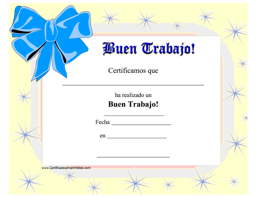 """Good Job Certificate Template"" (Puerto Rican Spanish) Download Pdf"
