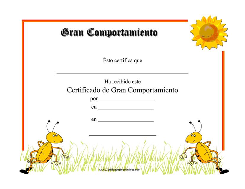 """""""Certificado De Gran Comportamiento"""" - Spain (Spanish) Download Pdf"""