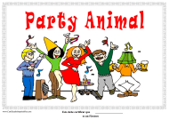"""Party Animal Certificate Template"" (Puerto Rican Spanish)"