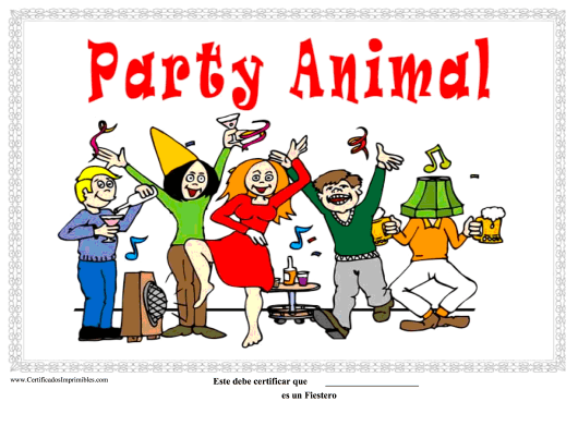 """""""Party Animal Certificate Template"""" (Puerto Rican Spanish) Download Pdf"""