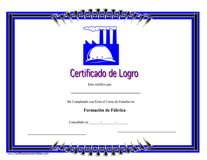"""""""Certificado De Logro - Formacion De Fabrica"""" (Spanish) Download Pdf"""