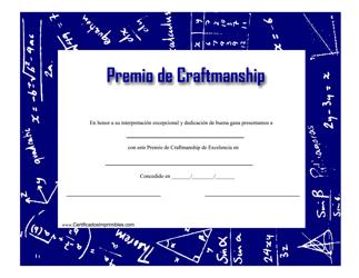 """Premio De Craftmanship Certificado"" (Spanish)"