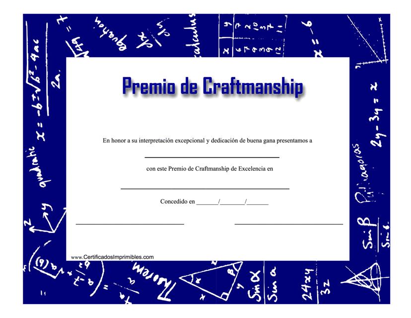 """""""Premio De Craftmanship Certificado"""" (Spanish) Download Pdf"""