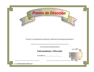 """""""Premio De Direccion Certificado"""" (Spanish)"""