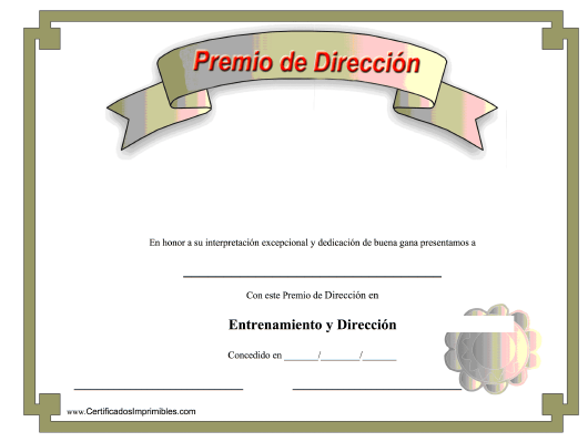 """Premio De Direccion Certificado"" (Spanish) Download Pdf"