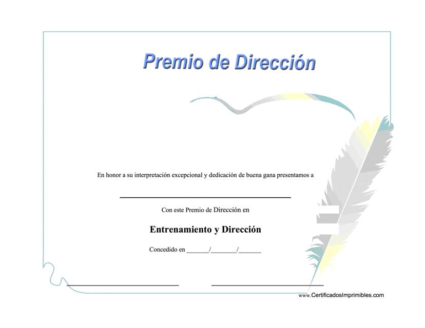 """""""Entrenamiento Y Direccion Premio Certificado"""" (Spanish) Download Pdf"""