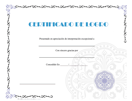 """Certificado De Logro"" (Spanish) Download Pdf"
