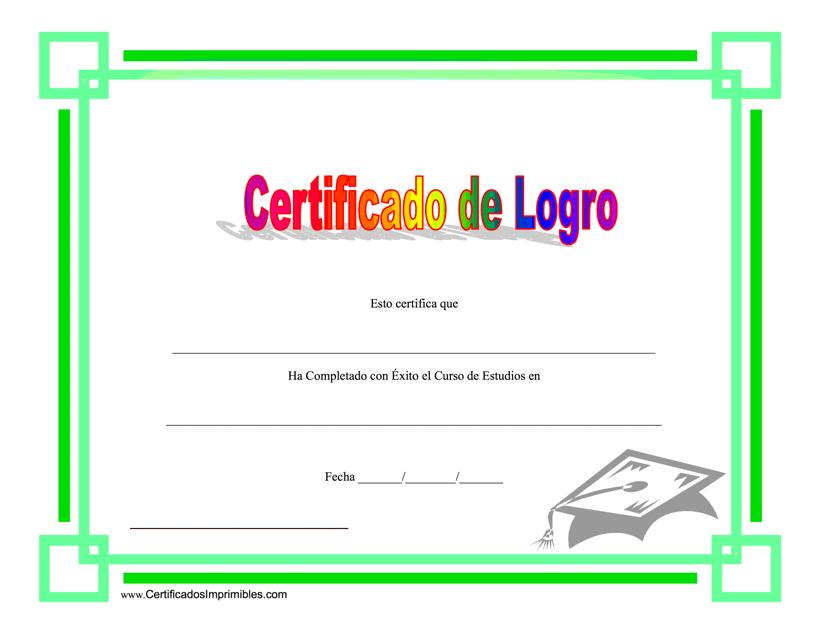 """""""Certificado De Logro - Completado Con Exito El Curso De Estudios"""" (Spanish) Download Pdf"""