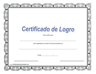 """""""Certificado De Logro - Completado Con Exito El Curso De Estudios"""" (Spanish)"""
