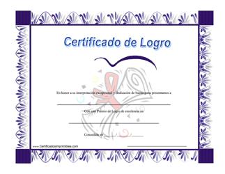 """Certificado De Logro"" (Spanish)"