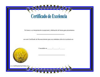"""Certificado De Excelencia"" (Spanish)"