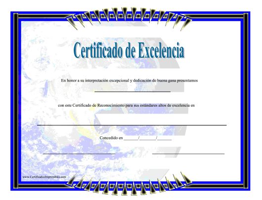 """Certificado De Excelencia"" (Spanish) Download Pdf"