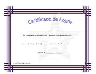 """""""Certificado De Logro - Dedicacion De Buena Gana"""" (Spanish)"""