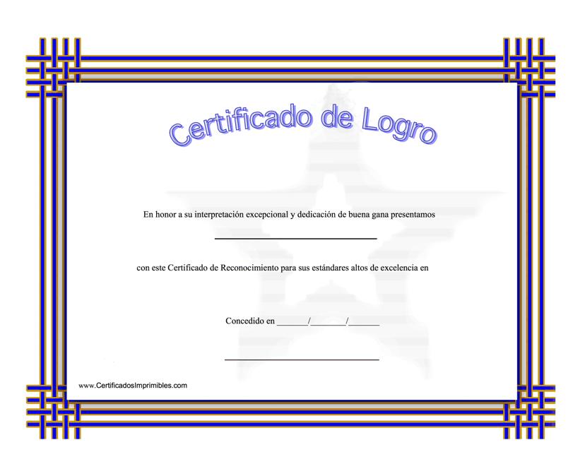 """""""Certificado De Logro - Dedicacion De Buena Gana"""" (Spanish) Download Pdf"""