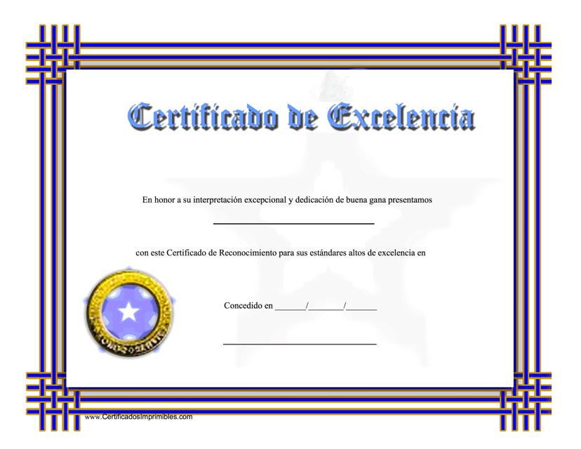 """""""Certificado De Excelencia - Dedicacion De Buena Gana"""" (Spanish) Download Pdf"""