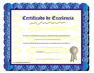 """""""Certificado De Excelencia - Dedicacion De Buena Gana"""" (Spanish)"""