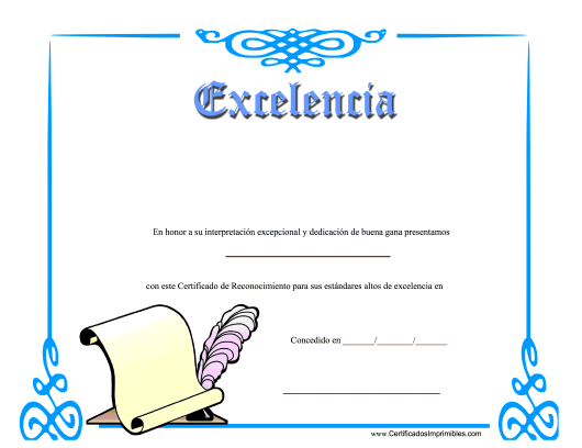 """Certificado De Excelencia"" - Spain (Spanish) Download Pdf"