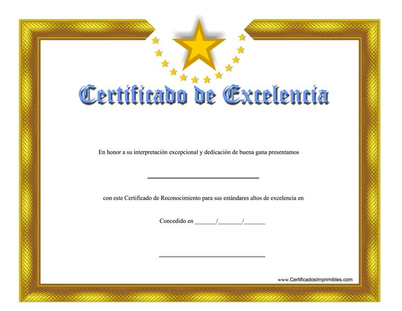 """""""Certificado De Excelencia"""" - Spain (Spanish) Download Pdf"""