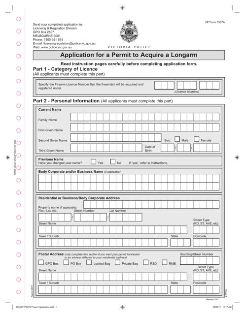 Form VP0337A Printable Pdf