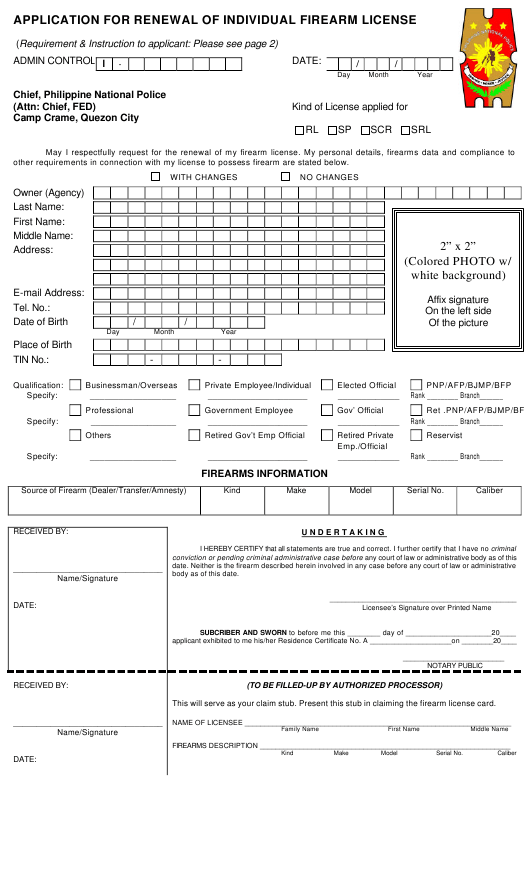 """""""Application for Renewal of Individual Firearm License"""" - Pampanga, Philippines Download Pdf"""