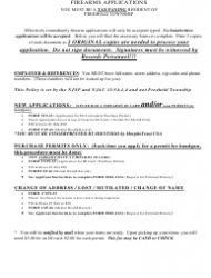 Form S.T.S.033 Application for Firearms Purchaser Identification Card and/Or Handgun Purchase Permit - Township of Freehold, New Jersey