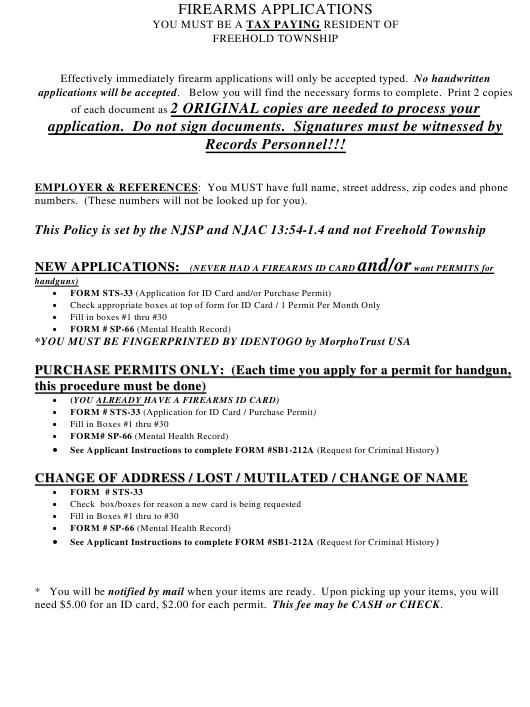 """Firearms Applications"" - Township of Freehold, New Jersey Download Pdf"